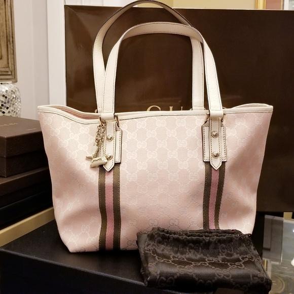 137644ebc2f1 Gucci Bags | Part 1 Auth Pinkwhite Gg Canvas Jolicoeur Tote | Poshmark